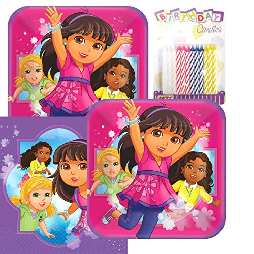Lobyn Value Pack Dora & Friends Party Plates and Napkins Serves 16 With Birthday Candles