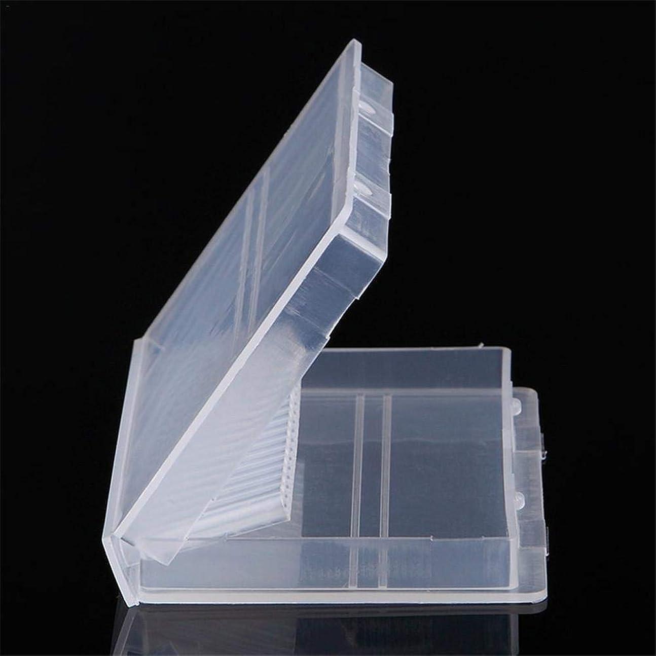Ruier-tong ネイルドリル 収納ケース ネイルビッドセット 研削ネイル用 透明 プラスチック 20穴 ネイル研削ヘッド収納ボックス
