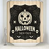 vintage halloween fabric - EZON-CH Customize Extral Long Large Waterproof Vintage Halloween Pumpkin Spider Web Print Polyester Fabric Home Hotel Apartment Bathroom Shower Curtain 66x72IN