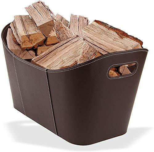 Holzkorb - Brennholzkorb - Kaminholzkorb - Kaminholztasche aus hochwertigem Kunstleder in Schwarz und Braun 53 x 35 x 31 cm (Braun)