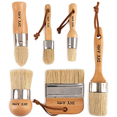 DIYARTZ Chalk & Wax Paint Brush (Set of 6) for Waxing & Painting Projects - 100% Natural Boar Bristles, Ergonomic Handles, Minimum Shedding - Smooth Coverage for Furniture, Milk Paint & Stencil