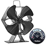 VonHaus Large 4 Blade Heat Powered Wood Stove Eco Fan with Temperature Gauge- Ultra Quiet Fireplace Wood Burning Fan for Efficient Heat Distribution – Black