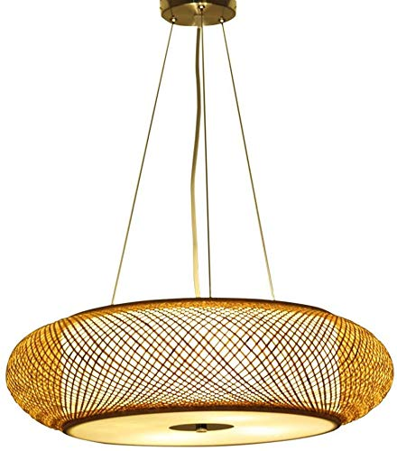 BESTSOON Chandelier Chandelier Hand-Knit Natural Bamboo and Vine Lámpara de araña para la Granja de la casa de la casa y la araña de la Cocina,Natural-Large