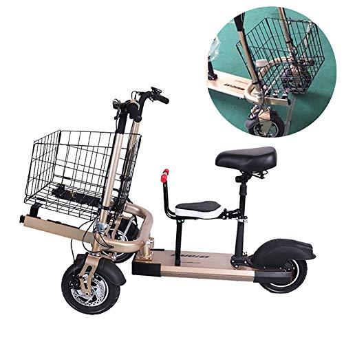 FLy Cochecito De Triciclo Plegable Bicicleta Eléctrica Doble para Niños 2 En 1, Triciclo De Dos Plazas Desmontable Sistema De Seguridad para Recién Nacidos con Resistente A Los Golpes,Oro