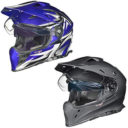 RX-967 Crosshelm Integralhelm Quad Cross Enduro Motocross Offroad Helm rueger, Größe:L (59-60), Farbe:Blau V/RCK