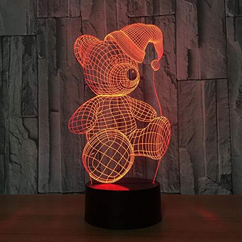 Luces de ilusión 3D 3D de Navidad para dormitorio de bebé, noche LED, 7 colores cambiantes, lámpara de mesa para niños, regalos para niños