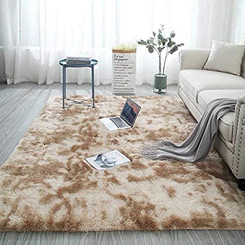 Ewolee Teppich, Shaggy Teppich für Schlafzimmer Sofaboden Wohnzimmer (Khaki, 160x120)