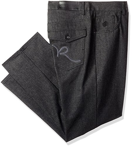 Rocawear Men's R Script Flap Jean, Raw Black/Grey, 56