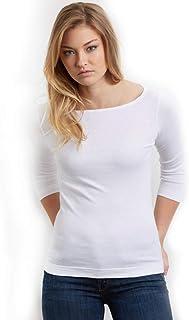 スリードッツ ボートネック 七分袖 Tシャツ 03.White
