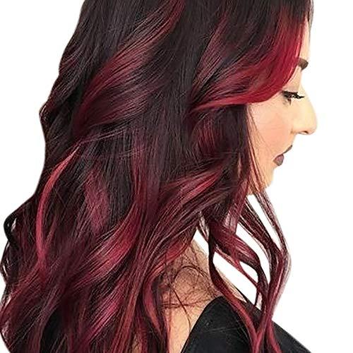 Perruque de soirée sexy Tireow perruque synthétique bouclée Noir/rouge