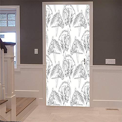 Deur muurschildering sticker 3D DIY renovatie behang vintage half bedekte houten deur schetsen paard huis decoratie binnendeur foto verwijderbaar zelfklevend 95x215cm