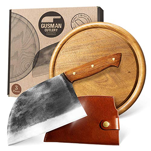 Gusman Cutlery Serbian Chefs Knife - Butcher Knife Meat Cleaver Set w/ Sheath & Cutting Board Handmade Rustic Full Tang Carbon Steel Big Chef Camp Knife for Outdoor Kitchen Cooking Chopping Vegetable