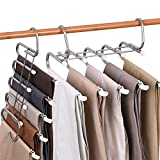 Pants Hangers Space Saving (4 Packs) - 5 Layered Non Slip Open Ended Pants Hanger, Multiple Closet Organizers and Storage, Stainless Steel Clothes Organizer Rack for Hanging Scarf Trouser