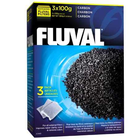 Fluval Carbon Filter Media for Aquariums, Premium Bituminous Carbon Inserts, 100-gram Nylon Bags, 3-Pack, A1440