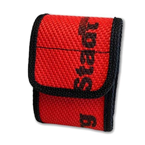 Roter Hahn 112 Feuerwehr DME Holster Piepser Tasche Melder Funkmeldeempfänger/Schlauch ROT/aus gebrauchtem Feuerwehr Schlauch/Original