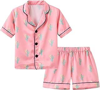 Pijama de seda de satén para bebé niña y niña, con dibujos animados de animales, manga corta, pijamas y pijamas