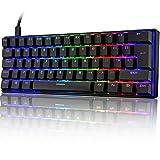 UK Layout 60% Mechanische Gaming-Tastatur Typ C verkabelt 61 Tasten LED-beleuchtete USB-wasserdichte Tastatur 14 Chroma RGB-Hintergrundbeleuchtung Anti-Ghosting-Tasten für Computer/PC/Lapto/MAC
