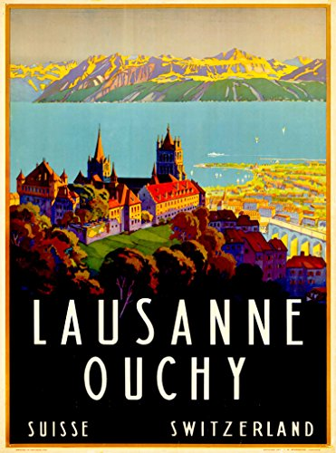 A SLICE IN TIME Lausanne Ouchy Switzerland Europe European Schweiz Suisse Swiss Vintage Travel Advertisement Art Poster Print. Measures 10 x 13.5 inches