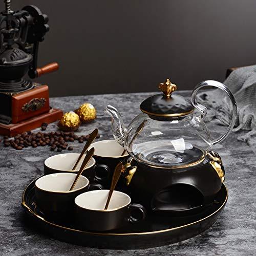 Yqs Juego De Te De Ceramico Nordica Conjunto Simple Taza de cafe Tetera El te de la Tarde Ingles de Oro de ceramica Flor de Cristal climatizada Tetera con Bandeja de Vela (Color : One Pot (4 Cups))