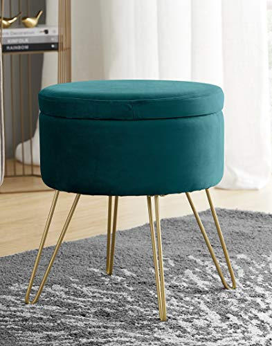 Ornavo Home Modern Round Velvet Storage Ottoman Foot Rest Stool/Seat with Gold Metal Legs amp Tray Top Coffee Table  Teal