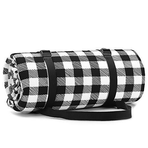 Simpeak Picknickdecke Wasserdicht Outdoor 200x200, Picknickdecke Wärmeisoliert für Strände/Picknicks/Parks/Camping und Outdoor-Aktivitäten Picknick Matte - Schwarz/Weiß