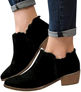 Ankle Boots for Women Lace Up,Slip-On Loafers Pointed Toe Chunky Block Low Heel Office Dress Casual Shoes Cutout Booties