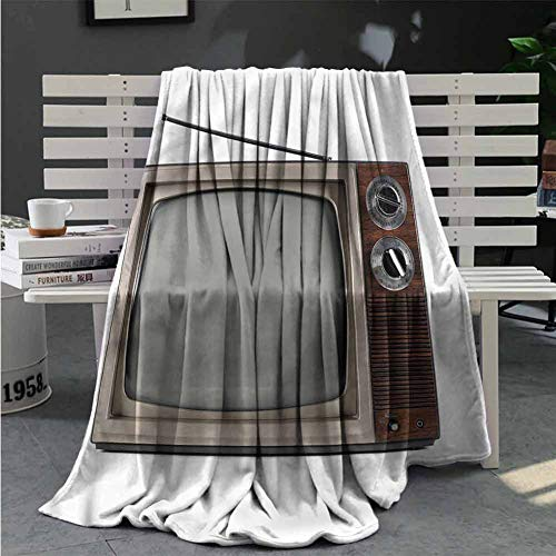 1950S Best Blankets Old Television with Antenna Portable Car Travel Cover Blanket Great Gifts to Your Family,Friends,Kids 87X63 Inch