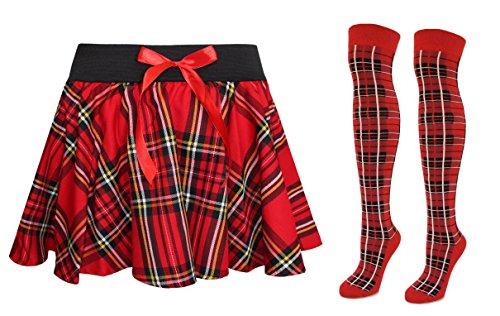 RED TARTAN BRACES FANCY DRESS COSTUME ACCESSORY GEEK NERD CHECK MENS WOMENS