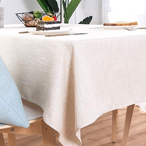 ZUOANCHEN Nappe De Coton En Coton Lavable À La Machine, Nappes Imperméables Faux Lin Essuyable De Table Lavable Gris/Rectangle Chambray (Couleur : Blanc, taille : 100 * 160cm)