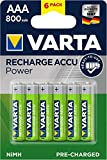 VARTA Recharge Accu Power, recargable - Pilas de NiMH AAA Micro (paquete de 6 unidades, 800 mAh) - Recargables sin efecto de memoria - Listo para usar