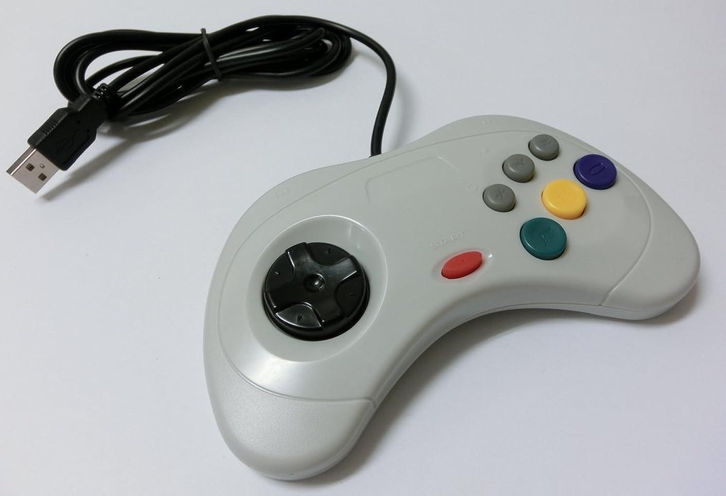 ビデオクレーン眩惑するPC サターン6ボタン型USBコントローラー(ホワイト)