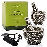 Esto, Mortar And Pestle Set plus Garlic Peeler plus Spatula & Avocado Slicer, 2 sizes Granite Stone Grinder, Grey Color