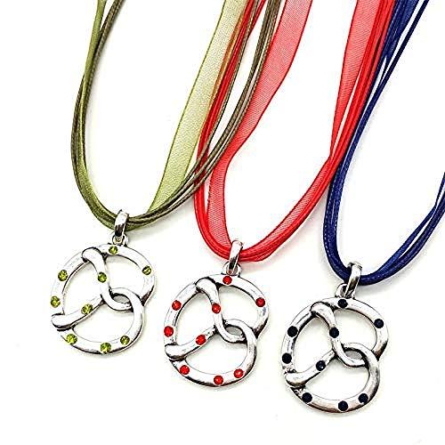NC163 Collares Pendientes de Pretzel de Moda únicos para FR, Gargantilla de Cuerda de Cristal Multicolor, joyería étnica Oktoberfest, 3 Piezas