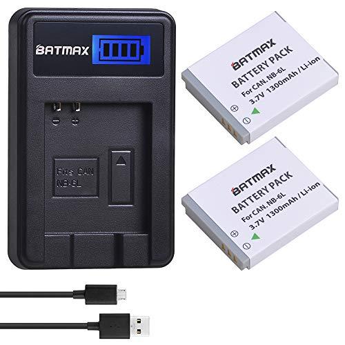 Batmax 2Pcs 1300mAh NB-6L NB 6L NB-6LH Battery + LCD USB Charger for Canon PowerShot S120, SX170 is, SX260 HS, SX280 HS, SX500 is, SX510 HS, SX520 HS, SX530 HS, SX540 HS, SX600 HS, SX610 HS, SX700 HS