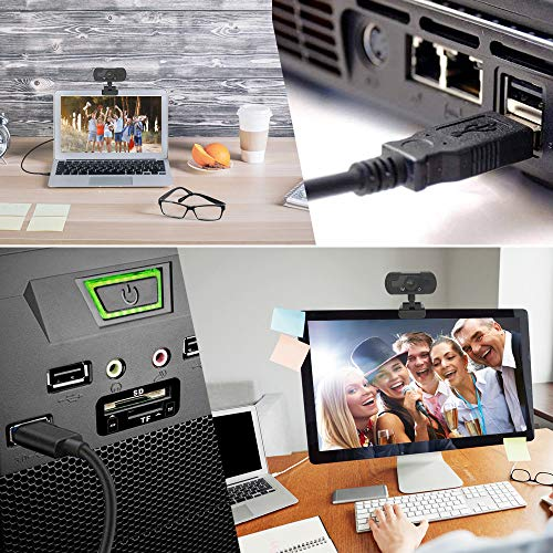 Webcam with Microphone,Web Cameras for Computers,1080P PC Web Cam,Web Cam for Video Conferencing,YouTube,Recording and Streaming,Computer Camera with 90-Degree Extended View