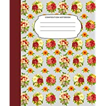 Composition Notebook: 7.5X9.25 Inch 109 Pages Roses Half Blank Half Wide Ruled School Exercise Book With Picture Space For Adults Teens Girls Kids Draw And Write Your Own Stories Nifty Watercolor Floral  Grey Background Grades K2 Home Elementary