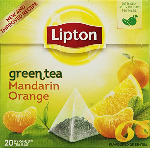 Lipton Grüner Tee Mandarine Orange, 20 Pyramide Teebeutel, 4er Pack (4 x 55 g)