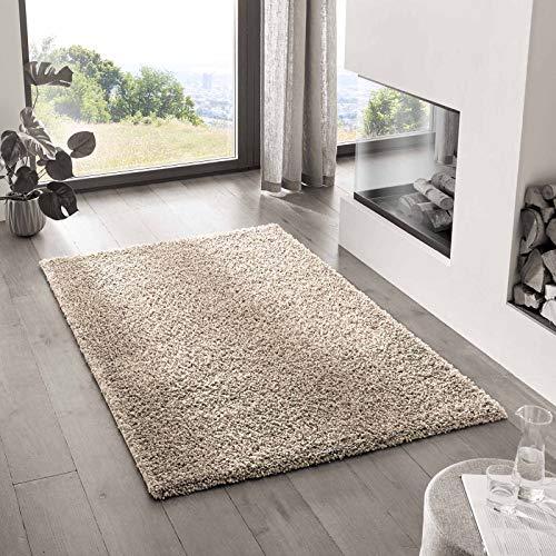 Teppich Wölkchen Shaggy-Teppich | Flauschiger Hochflor für Wohnzimmer, Kinderzimmer oder Flur Läufer | Einfarbig, Schadstoffgeprüft, Allergikergeeignet I Beige - 60 x 90 cm