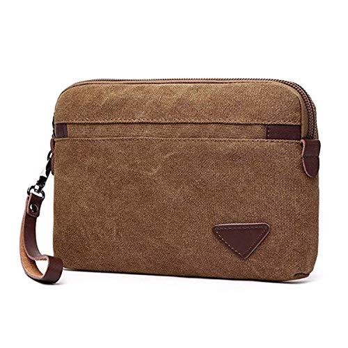 Canvas-Handgelenktasche, große Clutch, börse, mit Reißverschluss, Handtaschen-Organizer mit Lederriemen, für Damen und Herren, Braun (braun), Einheitsgröße