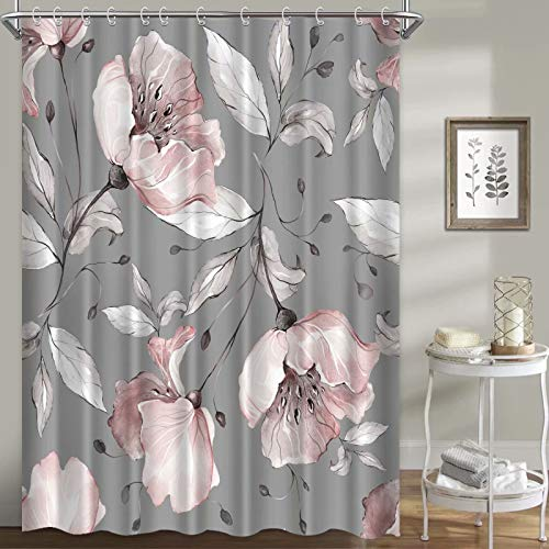 """LORIE Floral Shower Curtains for Bathroom, Pink Rose Flowers Shower Curtain Set Grey Background Fabric Waterproof Washable, 72""""×72"""""""