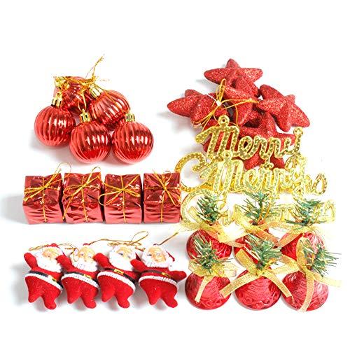 Emorias 1set Ornement de Noël Sapin de Noël Pendentif Ensemble d'accessoires de Décoration d'arbre de Noël(Rouge)