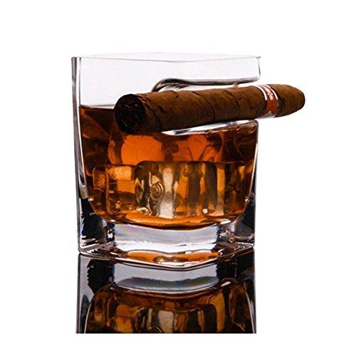 Bicchiere da whisky con porta sigari, stile antico, bicchiere di cristallo per vino, bourbon brandy, birra, liquore per sigari e whisky