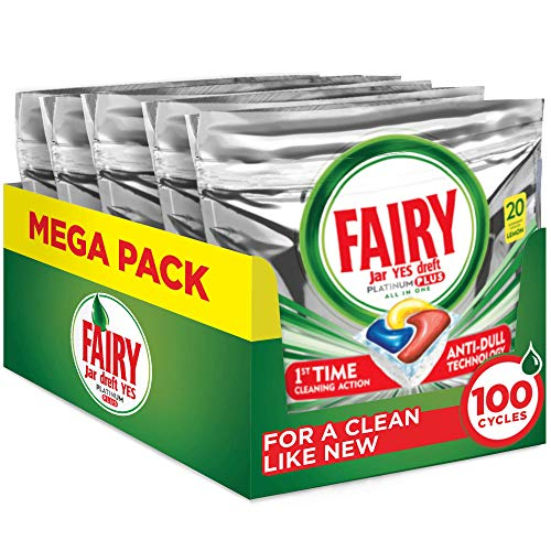Fairy Platinum Plus All-in-One Dishwasher Tablets Bulk, Lemon, 100 Tablets (20 x 5)