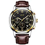LIGE Reloj Hombre Moda Cronógrafo Cuero Impermeable Cuarzo analógico Acero Inoxidable Clásico Negro Fecha/Calendario Reloj