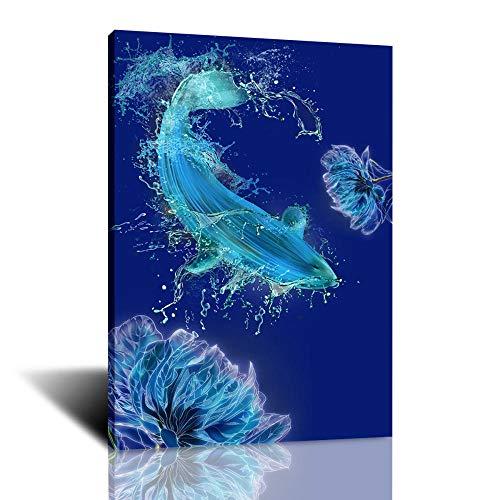 Pinturas creativas de la lona del arte de la carpa del animal marino de Splash para las impresiones de la sala de estar Carteles Arte de la pared Decoración del hogar-60X90Cm Sin marco