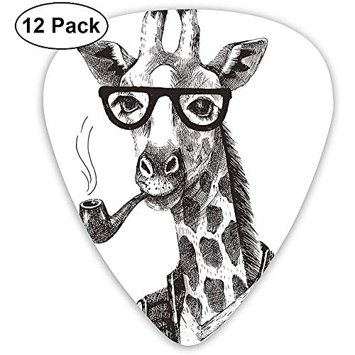 Jirafa Pipe Dressed Up Fancy Zoo Animal Hipster Estilo Dibujo Retro (paquete de 12)
