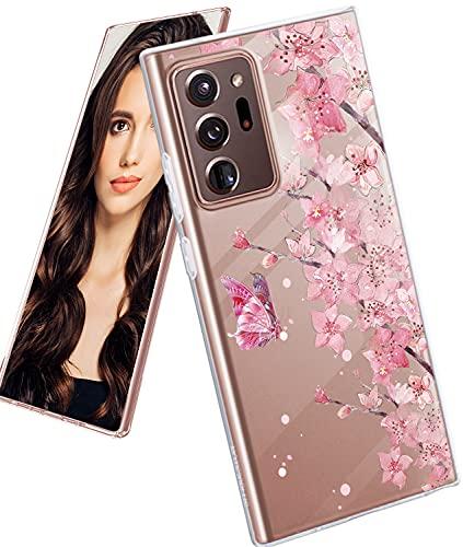 Croazhi Handyhüllen Kompatibel mit Samsung Galaxy Note 20 Ultra 5G Hülle Schutzhülle Silikon Transparent Marmor Blumen Ultra Thin 360 Stoßfest Hülle Cover für Galaxy Note20 Ultra 5G 2020 Handy Tasche