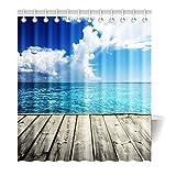 Violetpos Duschvorhang Holz Meer Blau Hochwertige Qualität Badezimmer 180 x 200 cm
