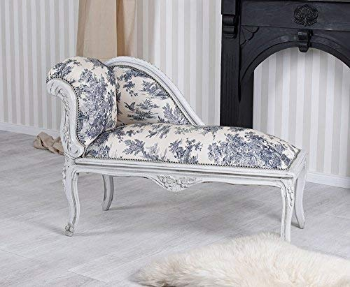 Chaiselongue Toile de Jouy Recamiere Sofa Rokoko Sitzhocker Ottomane Palazzo Exklusiv