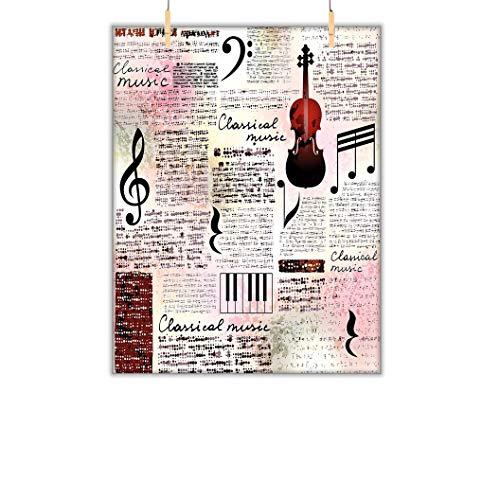 Wandkunst mit alten Zeitungen, klassisches Musikthema, Instrumente, Klavier, Violine, Noten, Symbole, Leinwand, Wandkunst, Bilder, Schlafzimmer, 78,7 cm B x 119,4 cm L, Rubinrot, Hellrosa, Schwarz